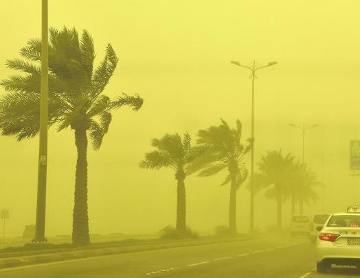 """""""الأرصاد"""": رياح نشطة وعاصفة ترابية على معظم المناطق بدءًا من الجمعة"""