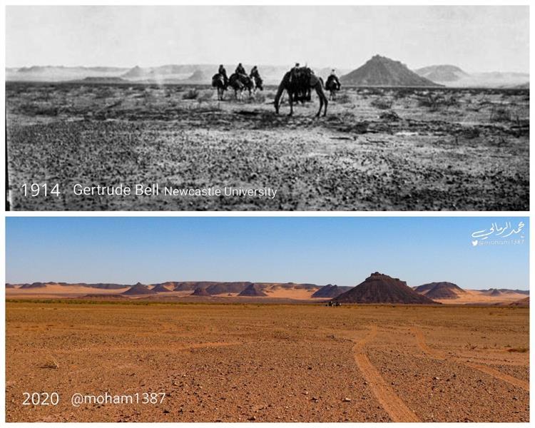 مواطن يوثّق مقارنة بين مناطق في المملكة التقطت لها صور قبل 100 عام ووضعها الحالي