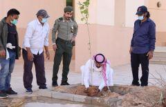 بالصور.. مكتب مياه وزارعة الخرج ينفذ مبادرة تشجير مبني الجوازات بالمحافظة